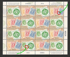 SERBIA-MNH-SHEET-150 Years OF THE FIRST POSTAGE STAMP-TWO ENGRAVERS-LOOK-2016.