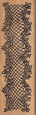 """flower border me and carrie Wood Mounted Rubber Stamp 2 x 6""""  Free Shipping"""