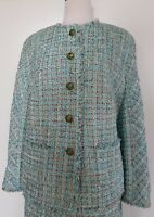 ESCADA Aqua/Soft Brown Tweed Boucle Skirt And Jacket Suit Size 44/14