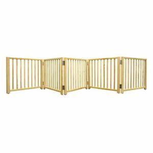 "Four Paws Smart Design Folding Freestanding Gate 5 Panel Beige 48"" - 110"" x 1"" x"