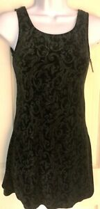 GK ICE FIGURE SKATE LADIES SMALL BLACK DAMASK VELVET SLVLS A-LINE DRESS Sz AS