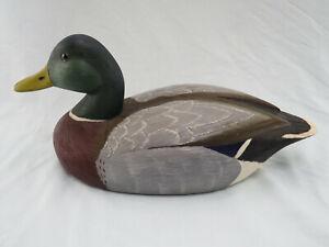 Vintage Drake Mallard Duck Decoy Louis Lehman Hand Carved + Painted Wood