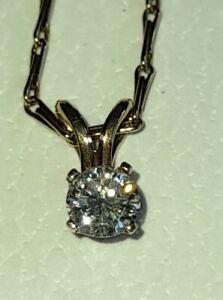 Uk Hallmarked 9ct Yellow Gold 0.33 Third Carat Solitaire Diamond Drop Necklace.