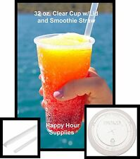 50 Clear PET Plastic 32 oz Cup w/ Flat Straw Slotted Lid, Clear Straws Included