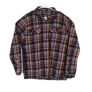 Patagonia Fjord Flannel Shirt Men's Medium Plaid Button Saucer Pass Classic Navy