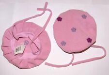 BERET CHAPEAU POLAIRE ROSE BEBE FILLE ENFANT FLEUR 45 cm neuf
