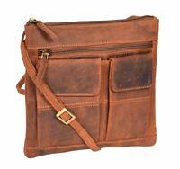 Ladies Real Leather Cross Body Messenger Shoulder Portable Oil Tan Sling Bag NEW