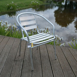 CHROME BISTRO CHAIR ALUMINIUM STACKING GARDEN CAFE KITCHEN OUTDOOR SEATING