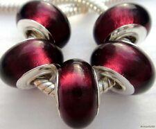 5PCS Silver Single Core Murano Lamp Glass Beads fit European Charm Bracelet A033
