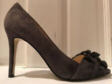 Enzo Angiolini Mielee Gray Suede Leather Peep Toe Pumps With Bow Size 8.5