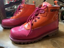 RARE Bright Pink & Orange Patent Leather Caterpillar Ankle Walking Boots UK 8