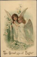 Easter - Beautiful Angel Girls w/ Lily Flowers c1910 Postcard rpx