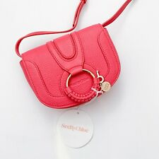 NWT Authentic SEE BY CHLOE Hana Small Ardent Pink Leather Saddle Bag Crossbody