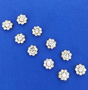 Antique Metal Gold Buttons Rhinestones bling Fashion Buttons Sewing Craft 10 pcs