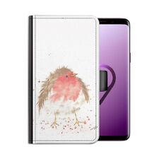 Robin Pájaro Cuero Artificial Funda para Teléfono, Lado con Tapa Apple /Samsung/
