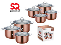 Stainless Steel Metallic Deep Stockpot Casserole Cooking Pot Pan Lid Set Axinite