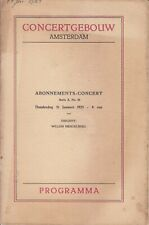 Concert Programme 1923 Willem Mengelberg Mahler 4 Amsterdam Concertgebouw