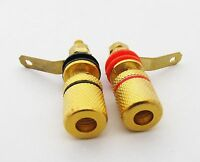 2 x Gold Binding Post 4mm Banana Jack Amplifier Speaker Terminal Alloy Connector