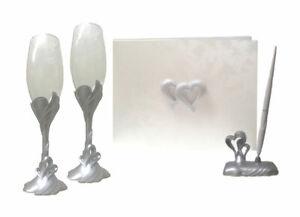 Double Heart  Wedding Guest Book, Pen, Toasting Flutes wedding set