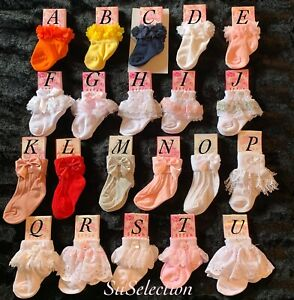 BABY GIRLS TODDLER GORGEOUS FRILL LACE PEARLS BOW SOCKS-NEWBORN -24 MONTHS- NEW