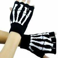 Skeleton Bones Fingerless Gloves Knit Black Gloves for Texting Hand Warmer Adult