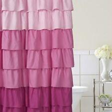 Pink Ombre Ruffle Shower Curtain NEW Light Dark Ruffles 70x72 Polyester Bath
