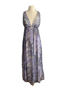 Enrose Womens  Sheer Maxi Dress Strappy Straps Size 8