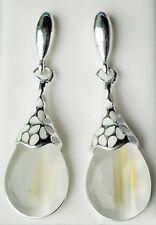 Bianco vetro opaco & tono argento con smalto Pendente Orecchini circa 4,5 cm