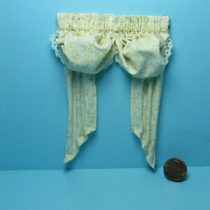 Dollhouse Miniature Double Balloon Valance with Curtains Ecru Leaves BB55701