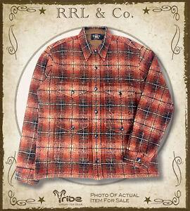RRL Ralph Lauren NWOT $795 Plaid Wool-Cashmere Overshirt, Double RL Shirt Jacket