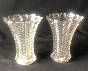 """Pair Of VNTG 2 5"""" Flared Bud Vases Crystal Glass Excellent Hobnail Cut Scalloped"""