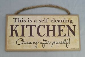 """Self Cleaning Kitchen Clean Up After Yourself Funny Sign Wall Art Decor 10""""x5"""""""