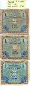 ALLIED MILITARY - GERMANY 1944 - 3x ONE MARK MILITARY CURRENCY