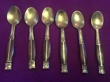 Set of 6 Teaspoons Golden Color Brass Teak Brown Wood Vintage Thailand Red Cover