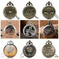 Steampunk Retro Fashion Design Pocket Watch Necklace Chain Gift Quartz Movement