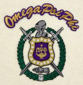 """OMEGA PSI PHI Embroidery SHIELD / CREST (10 1/2"""") and ROCKER Patch ( 13"""") Set"""
