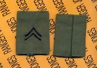 US Army Enlisted CORPORAL CPL E-4 OD Green & Black slip on rank patch