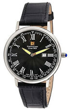 Steinhausen Men's Altdorf Swiss Quartz Stainless Steel Black Leather Watch S0121