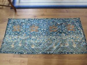 """SUPERB ANTIQUE CHINESE GOLD THREAD DRAGON EMBROIDERY , MEASURES 72 X 34"""" INCHES"""