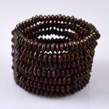 Unisex Wood Beads Coffee Unlimited Multilayer Beaded Elastic Bracelet 0033