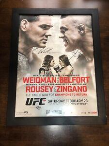 Ufc 184 Signed Poster Vitor Belfort Chris Weidman Autograph Ronda Rousey 27 X 21