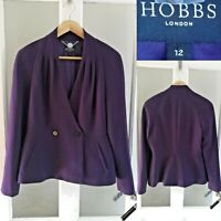 Hobbs Cathy Blazer Jacket 12 Purple Double Breasted Smart Career Smart Classic