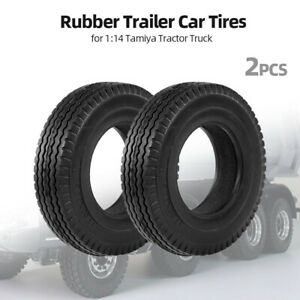 2pcs Trailer Car Rubber Tires for 1:14 Tamiya Tractor Truck RC Climbing J8T2