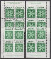 Canada #555 7¢ Christmas Snowflakes Match Set Plate #2 Blocks MNH