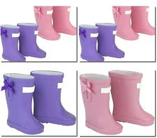 "Pink or Purple Wellie Rain Boots w/Bow 18"" Doll Clothes Fits American Girl Dolls"