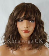 LADIES WOMENS MEDIUM BROWN SHOULDER LENGTH WAVY BOB FASHION WIG