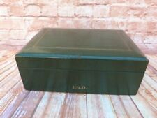 More details for vintage green leather table top cigar humidor box