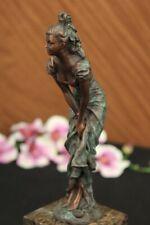 Bronze Sculpture Multi Color Patina Classic Original Artwork Marble Base Figure