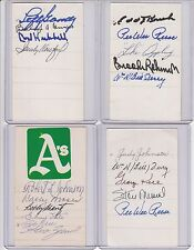 signed index card As  Robert Johnson, Wally Moses, Elmer Valo, 3 others w/COA
