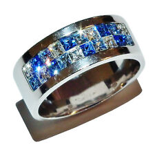 Stamped 925 Sterling Silver, Blue & White Gem Set Fancy Band - UK Size: N